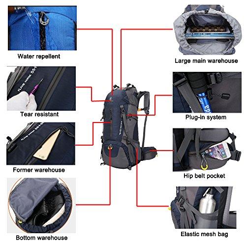 huiguizhe Sport all' aperto 60L impermeabile zaino da escursionismo arrampicata alpinismo borsa da viaggio zaino da trekking con parapioggia, Z0627, Red, 60 L Blue