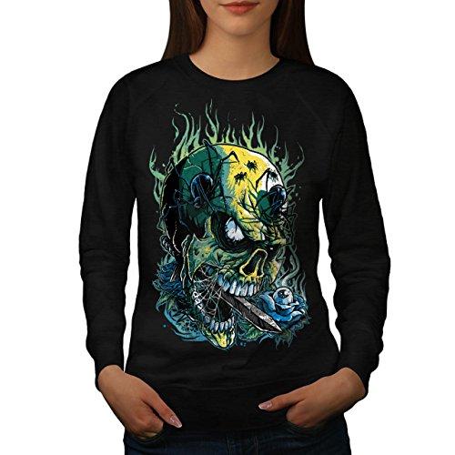 Gote Schädel Heiß Horror Damen M Sweatshirt | (Kostüm Heißes Katze Thema)