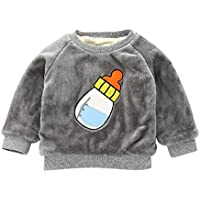 Moresave Enfants Bébé Filles Pull Tops À Manches Longues Lait Bouteille Motif Chaud Polaire Sweat À Capuche Sweat-shirts