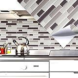 Grandora Set de 4 pegatinas 28,6 x 25,3 cm azulejos y baldosas varios tonos ladrillos grises I autoadhesivos 3D para baño cocina decoración W5203