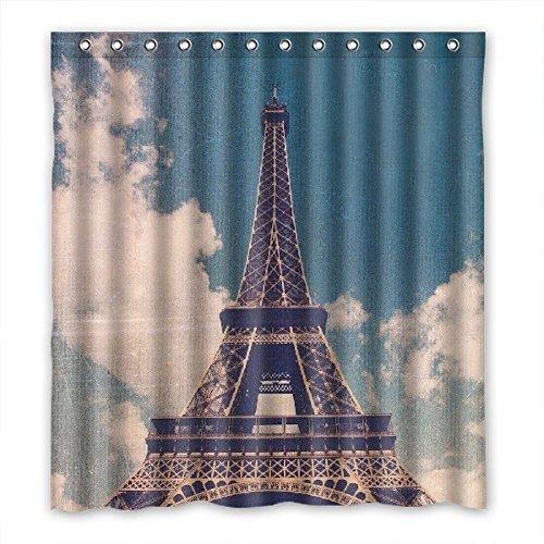 Doubee torre Eiffel tenda per la doccia in poliestere impermeabile 167cm x 183cm, Poliestere, D, 1