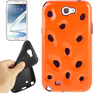 Hollow Watermelon Style Plastic + Black Silicone Combination Case for Samsung Galaxy Note 2 N7100 (Orange)