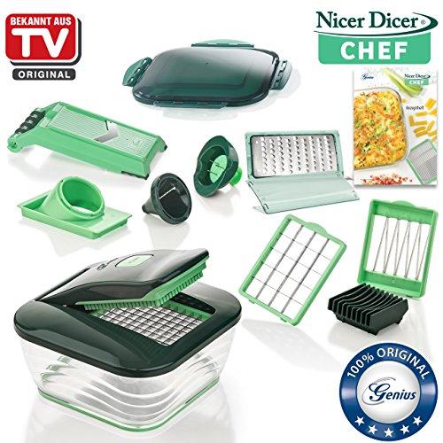 Genius Nicer Dicer Chef | 15 Teile | Obst & Gemüseschneider | Bekannt aus TV | NEU Spirale Slicer-mandoline