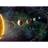 1Wall Mural de pared espacio planetas y estrellas, madera, negro, 3,15x 2,32m
