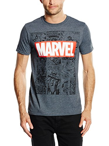 MARVEL Mono Comic T-Shirt, Camiseta Para Hombre, Gris (Dark Heather), Large