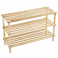PRIMA HOUSEWARES Wooden Shoe Boot Trainer Rack Storage Shelf Organiser Stand Unit - Natural - 3 Tier