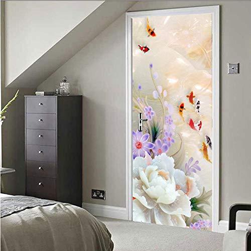 Kleine Frische Neue Wand Von Lotus Koi Muster Aufkleber Diy Stick Wasserdichte Tapete Poster Dekoration 77 * 200 Cm