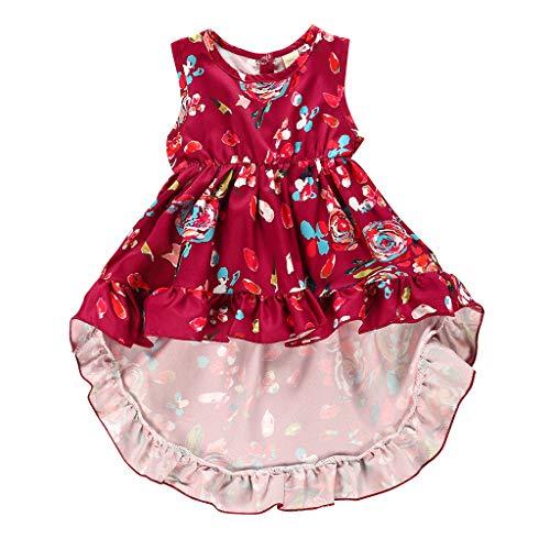 BURFLF Mode Babykleidung, Sommer Kleinkind Baby Mädchen Blumen Kleid Party Prinzessin Formelle Kleid Unregelmäßiges Urlaub Sommerkleid