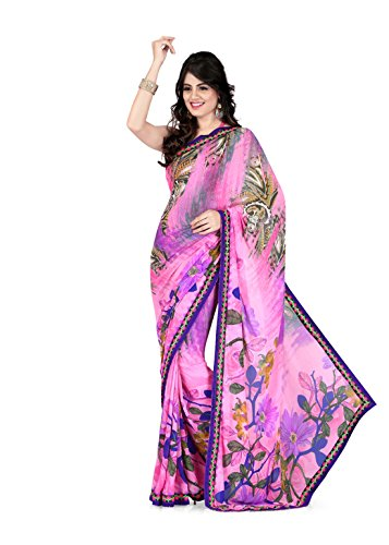 Sharda Sarees Georgette Saree (Pink-Lavender) with Blouse Piece