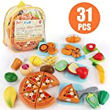 JoyGrow 31PCS Cutting Toys Play Food Fruits Vegetable Kitchen Playset Educational Learning Toy Boy Girl Kid with Backpack Storage