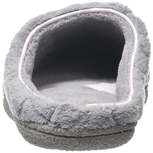 Dearfoams Quilted Microfiber Terry Clog With Memory Foam, Chaussons femme Gris  (Medium Grey 00036)