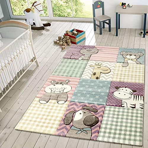 TT Home Kinder Teppich Moderner Spielteppich Niedliche Tier Motive Pastell Farben Bunt, Größe:140x200 cm Lila Zebra