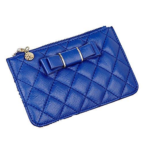 GSPStyle da donna, in pelle, con catena portachiavi, borse, portafogli, borsellini, motivo monete, grigio (Grigio) - 006993 blu