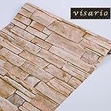 Visario Tapeten Folie Selbstklebend 10m x 45cm 5 Motive Steinoptik Steine Dekorfolie Möbelfolie (3007)