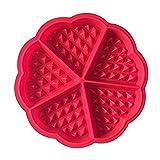 Golddunes stampi da forno in silicone di alta qualità waffle cottura stampi mini Heart waffle Mold muffin a forma di cioccolato pan stampo vassoio rotondo bella forma (rosso)
