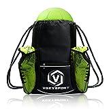 Bolsa de fútbol Saco de zapatos fútbol Mochila de deporte con bolsillos Bolso para balón Equipaje de entrenamiento Bolsa de Poliéster para gimnasio (Negro)