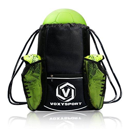 Fußball Rucksack mit Schuhfach Ballbeutel Kordelzug Sporttasche Multifunktion Training Tasche - für Schuhe Wasserflaschen Schützer Schwarz