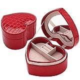 Petite Boîte à Bijoux en Forme de Coeur en Similicuir Effet Croco Coffret à Bijoux à Deux Couches avec Miroir et Doublure Velours Rouge