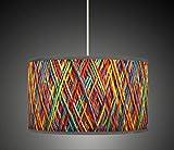 50cm (50,8cm) String Optik Orange Gelb Blau Retro handgefertigt Giclée-Style bedruckter Stoff Lampe Drum Lampenschirm Floor Deckenleuchte Pendelleuchte Schatten 602