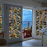 TT&CC Buntglas-Fenster-Folie,Datenschutz 3D mattierte PVC Statische klarsichtfolie Fenster Film Sonne Blockiert Papier Glas Bildschirm fensteraufkleber-A 122x100cm(48x39inch)