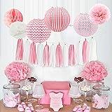 HappyField Baby Mädchen Baby Shower Dekorationen Mädchen Geburtstagsparty Dekorationen Tissue Pom Poms Papier Laternen Seidenpapier Quaste Tissue Wabenbälle Baby Pink Party Supplies