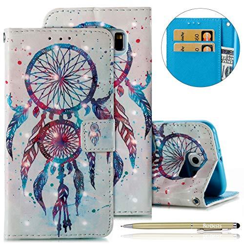 Kompatibel mit Handyhülle Galaxy S6 Handytasche Dünn Bookstyle Klapphülle Luxus Glitzer Glänzend Wallet Hülle Ledertasche Lederhülle Flip Case Handy Schutzhülle,Blau Traumfänger