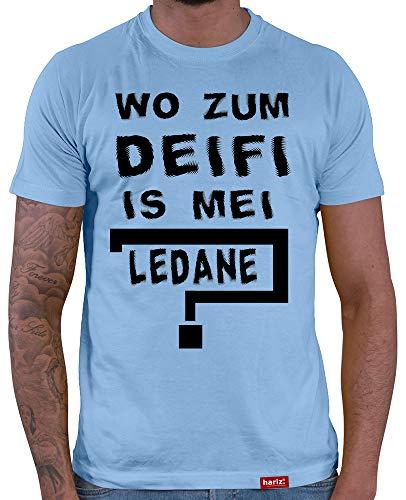 HARIZ  Herren T-Shirt Wo Zum Deifi is MEI Ledane Oktoberfest Outfit Tracht Dirndl Lederhosn Plus Geschenkarte Himmel Blau XXL