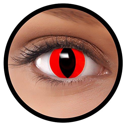 FXEYEZ® Farbige Kontaktlinsen rot Rote Katze + Linsenbehälter, weich, ohne Stärke als 2er Pack - angenehm zu tragen und perfekt zu Halloween, Karneval, Fasching oder Fasnacht