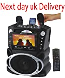 Karaoke USA GF829 Portable DVD/CDG/MP3G/CD Karaoke Machine with Large Screen, 2 Microphones, and 300 Karaoke Songs