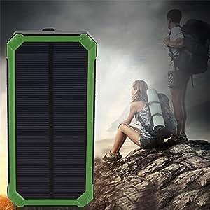 300000MAH Wasserdichte Solar Power External Power Bank mit LED-Licht für Mobiltelefone mit Kabel für iPhone für Samsung (Farbe: grün)