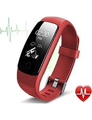 Montre Cardio, Lintelek Bracelet Connecté Sport Cardiofréquencemètre Smartwatch Bluetooth 4.0 Montre Connectée Etanche Tracker d'activité Podomètre avec Contrôle de la Musique, Alarme, Calories, Tracker Sommeil pour iPhone Android Smartphones
