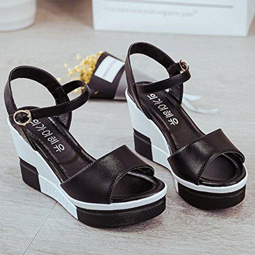 Transer® Damen Blockabsatz Sandalen Slingback Einfach PU-Leder+Polyurethan Weiß Schwarz Sandalen (Bitte achten Sie auf die Größentabelle. Bitte eine Nummer größer bestellen) Schwarz