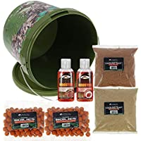 DNA NGT Carp Coarse Fishing Bait Bucket Set - Includes 5L Bucket with 2x Packs of Boilies, 2x Packs of Groundbait and 2x 50ml Liquid Booster (Mixed Flavours)