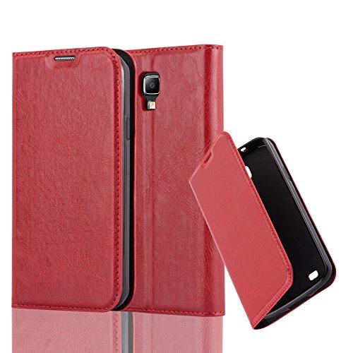 Cadorabo Hülle für Samsung Galaxy S4 Active - Hülle in Apfel ROT - Handyhülle mit Magnetverschluss, Standfunktion & Kartenfach - Case Cover Schutzhülle Etui Tasche Book Klapp Style