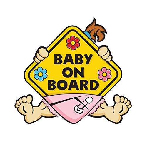 VvXx 11CM*10.1 cm Car Sticker Girl Baby ON Board Warning Mark Car Styling Reflective Decal -