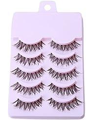 Lalang 5 Pairs Makeup Handmade Messy Natural Cross False Eyelashes Eye Lashes Extension (3#)