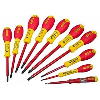 Stanley FatMax Schraubendreher-Set (isoliert, SL2.5/3.5/5.5;PH0/1/2;PZ0/1/2, Spannungstester, 10-teilig) 0-62-573
