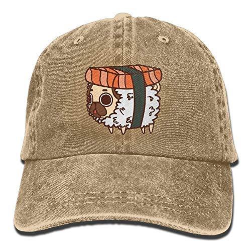 Zhgrong Caps Cute Sushi Pug Vintage Washed Dyed Cotton Twill Low Profile Adjustable Baseball Cap Black Ball Cap Black Brushed Twill Cap