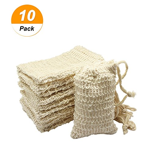 Dreamtop 10 Pack Natural Sisal Soap Bag Exfoliating Soap Saver Pouch Holder