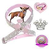 XS Rosa Princess Chihuahua Hunde Strass Geschirr Hundegeschirr Softgeschirr