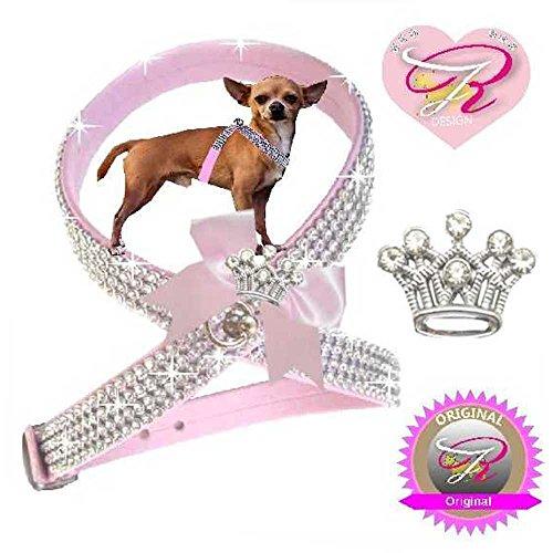 Woof Style S Krone Rosa Hunde Strass Brustgeschirr Chihuahua Hundegeschirr Softgeschirr für Hunde (Hundegeschirr Strass Rosa)