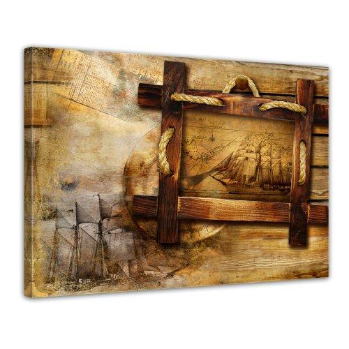 Kunstdruck - Schiff retro - Bild auf Leinwand - 80x60 cm 1 teilig - Leinwandbilder - Bilder als...