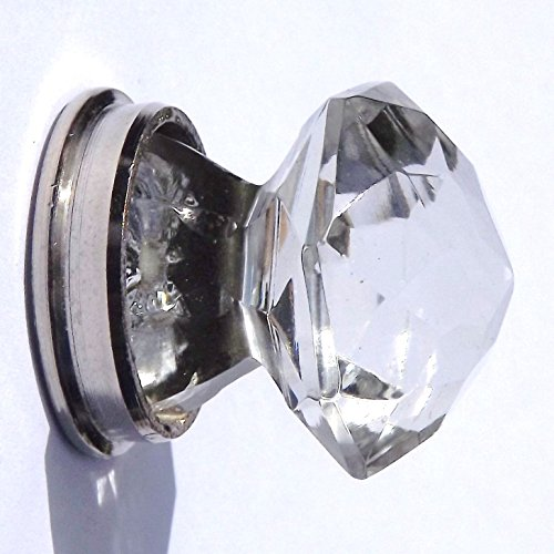 Glass / Cut glass small pointy crystal cupboard door pull knob with Chrome base 30 mm by Peter Sharpe Sharpe Base