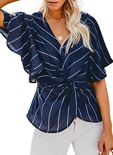 Yidarton Bluse Damen Sommer Kurzarm Chiffon Blumendruck Casual Gestreift Knoten Twist Blusen Tops (S-Blau, Large) (Für Bauch Junioren T-shirts)