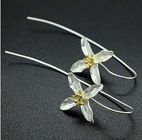 PLOOKIJUH Trendige Förderung Geschenk Lange Blume 925 Sterling Silber weibliche Ohrringe Schmuck Großhandel Schmuck Valentines Geschenk