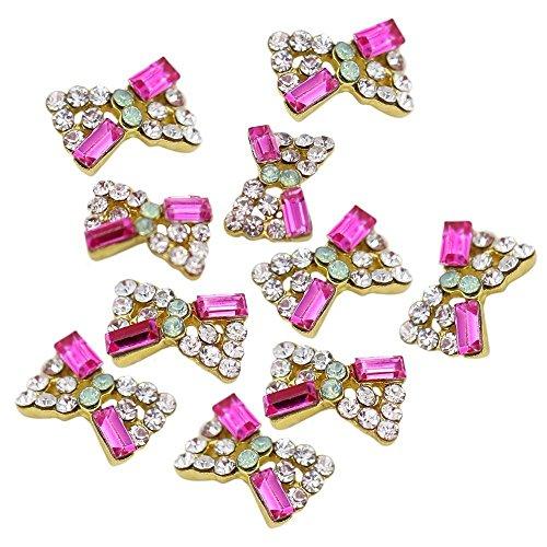 Autocollants d'art d'ongle - TOOGOO(R)10Pcs 3D Paillettes d'art d'ongle bande de cristal strass autocollant de bricolage (Style de noeud)