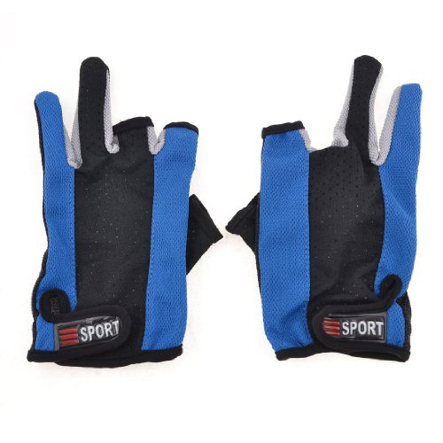 sourcingmapr-guantes-de-nylon-par-venda-elastica-dos-de-diseno-completo-dedos-negro-azul