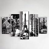 Feeby Frames, Tableau Multi Panneau 5 Parties, Tableau imprimé XXL, Tableau imprimé sur Toile, Tableau Deco, Pentaptyque (Paris, Tour Eiffel, Noir ET Blanc) 100x150 cm, Type A