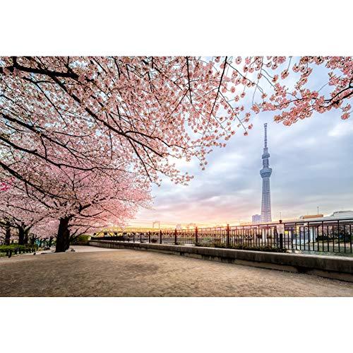 Cassisy 3x2m Vinyl Frühling Foto Hintergrund Tokyo Skytree Rosa Kirschblüten Sumida River Fotografie Hintergrund für Photo Booth Party Fotostudio Requisiten (Tokyo Skytree)
