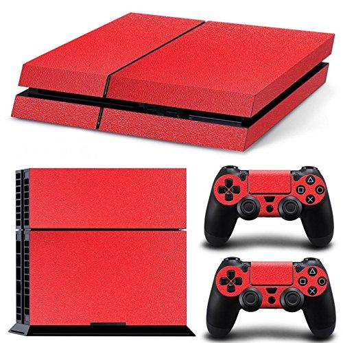 PlayStation 4 Designfolie Sticker Skin Set für Konsole + 2 Controller – Fiber Rough Red